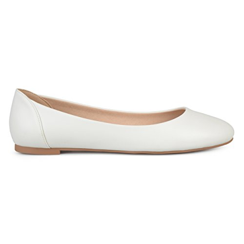 (Brinley Co. Womens Comfort Sole Faux Leather Round Toe Flats White, 10 Regular US)