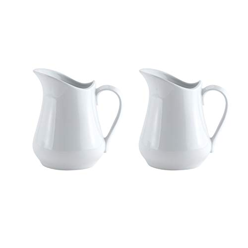 HIC Harold Import Co. NT305/2 Harold Import Co. Porcelain Creamer Pitcher, 4 Ounce, Set/2 (Ceramic Pitcher Coffee)