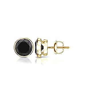 14k Yellow Gold Round Black Diamond Bezel-set Stud Earrings (1 1/2 ct, Black)