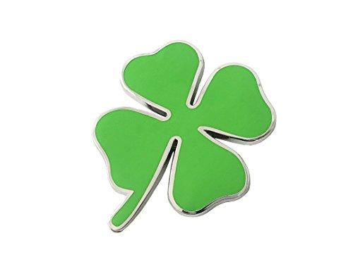 Pimall- Large Four Leaf Clover / Lucky Clover Metal Sticker Vehicle Badge Emblem