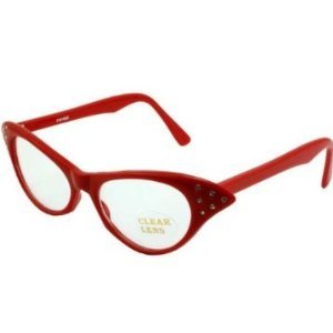 Rhinestone Cat Eye 50s Party Glasses in Many Colors (Red) -