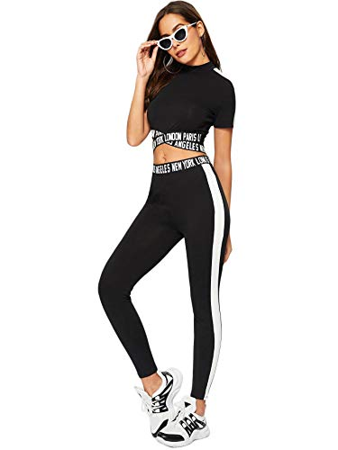 SweatyRocks Women's 2 Pieces Outfits Cropped T Shirt and Long Pants Tracksuits Set Sportwear Black M