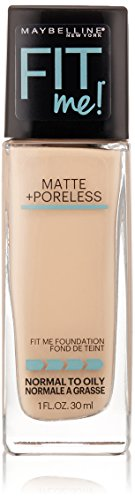 Maybelline New York Fit Me Matte Plus Pore Less Foundation Makeup, Natural Ivory, 1 Fluid Ounce