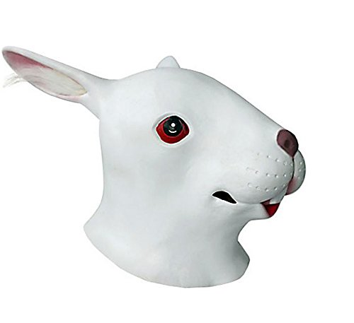 HLLWN Expresss, White Rabbit Head, Halloween Masquerade Latex Mask 2014 HLWMSK62 (Latex Rabbit Mask)