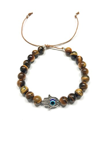 - Natural Tiger's Eye Stone Bracelet. Adjustable Sliding Knot String. Hamza Charm, Evil Eye, Envy Protection. Base/Root Chakra Balance. Stone of Luck.