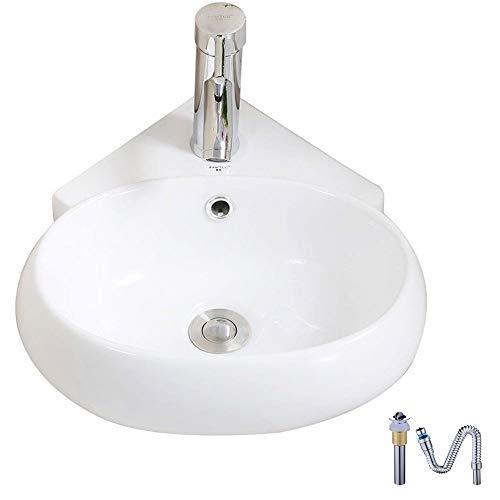 Homelava Corner Wall Mount Oval Deep Sink Bathroom White Porcelain Ceramic Vessel Washbasin