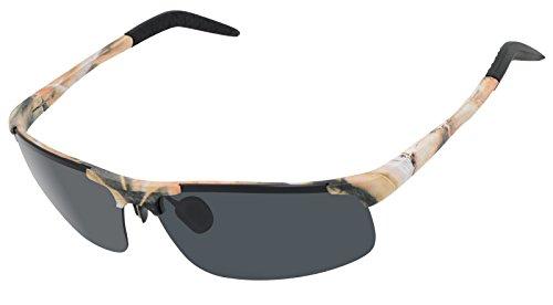 LZXC Desert Camouflage Polarized Sunglasses Men Outdoor Sport Eyewear Shooting Hunting driving Spring Hinge Unbreakable Plating AL-MG Frame Black - Camo Frames Glasses