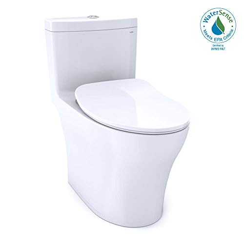 TOTO MS646234CUMFG#01 Aquia IV One-Piece Elongated Dual Flush 1.0 and 0.8 GPF Universal Height, WASHLET+ Ready Toilet with CEFIONTECT White-MS646234CUMFG, Cotton White