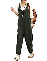FXLM Womens Casual Weekend Overalls Plus-Size Sleeveless Baggy Style