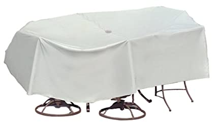 Protective Covers Weatherproof Patio Table and Highback Chair Set Cover, 60 Inch x 66 Inch, Oval/Rectangle Bar Table, Gray