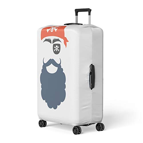 Semtomn Luggage Cover Pirate Booth Props Face Mask Party Corsair Birthday Babushka Mustache Beard Eyecup Travel Suitcase Cover Protector Baggage Case Fits 18-22 Inch