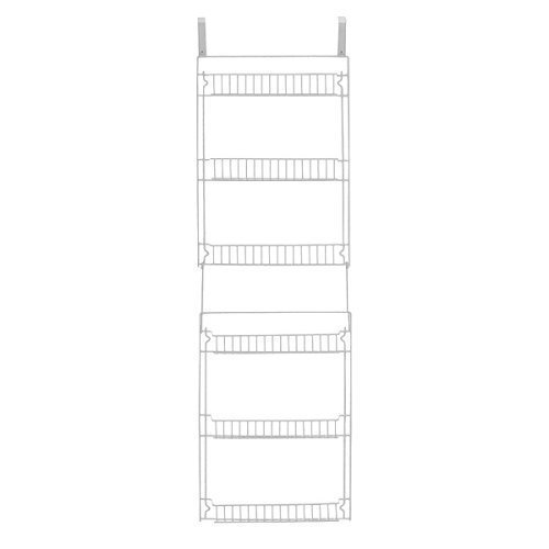 Home-X 5-Foot Vinyl Covered Steel Over the Door Six-Tier Storage Basket Rack (over all 19
