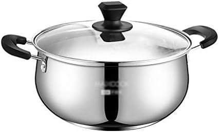 両手鍋 22センチメートルStockpot、304ステンレススチールダブルボトム鍋、ノンスティックパン、誘導調理器、ガスストーブユニバーサル (Color : Silver, Size : 24cm*11cm)