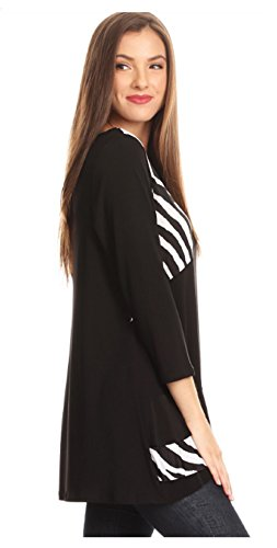 ... Seamless Womens Zebra Print 3 4 Sleeve Long Body Top Relaxed Fit Tunic  Fashion Top.    2956e8e2b