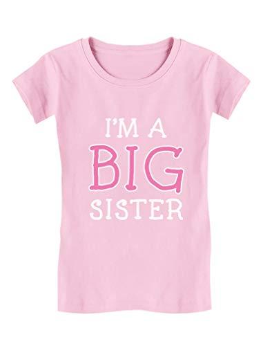 Elder Sibling Gift Idea - I'm A Big Sister - Cute Girls' Fitted Kids T-Shirt XL (11-12) Pink