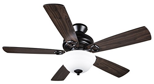 Hyperikon Ceiling Fan with Remote Control 52-inch, Indoor Black Ceiling Fan, Five Reversible Blades and Frosted Dome Light - Bulb Not Included