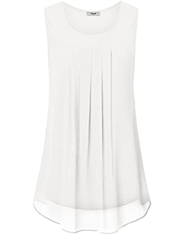 2186fef002f292 Timeson Women s Sleeveless Chiffon Tank Top Double Layers Casual Blouse  Tunic
