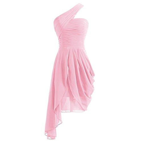 der Eine Abend Chiffon Schulter Blase Kleid Brautjungfer Unregelmäßiger Party Ballkleid 8 Damen Rand 26 Kleid Abendkleid Linie Ball Rosa Kurz Eine wPq0txASz
