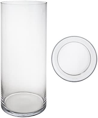 Mega Vases Cylinder Vase 7 Inch x 20 Inch, Decorative Clear Glass with Sturdy Base, Wedding Centerpieces, Flower Bouquets, Home D cor, Celebrations, Parties, Event Planning, Arts Crafts
