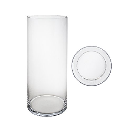 Mega Vases Cylinder Vase 7 Inch x 20 Inch, Decorative Clear Glass with Sturdy Base, Wedding Centerpieces, Flower Bouquets, Home Décor, Celebrations, Parties, Event Planning, Arts & Crafts (Inch Vase 20)