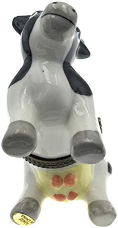 3.25 Inches Long Art Gifts Porcelain Milk Cow Trinket Box with Calf Trinket Inside