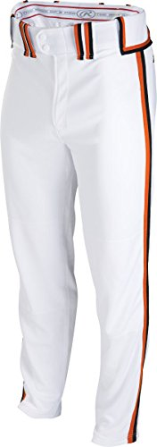 Rawlingsスポーツ用品Boys Youth semi-relaxed Pant with Braid B00LU9VVFS Small|White/Black/Burnt Orange White/Black/Burnt Orange Small