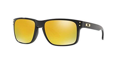 Oakley Holbrook Sunglasses Polished Black with 24K Gold Iridium Lens + Sticker