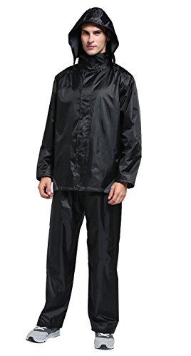 Maiyu Motorcycle Rain Gear 2 Piece Rain Suit Rain Jacket and Rain Pants Set (Black, XX-Large)