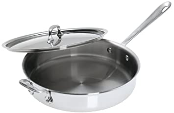 Sensational All Clad 5403 Stainless Steel Dishwasher Safe 3 Quart Saute Pan With Lid Silver Home Remodeling Inspirations Genioncuboardxyz