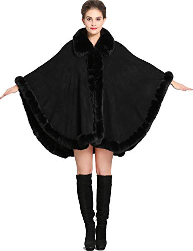 Aphratti Women's Wrap Shawl Cape Coat with Luxury Faux Rex Rabbit Fur Collar Without Arm Slits One Size Black