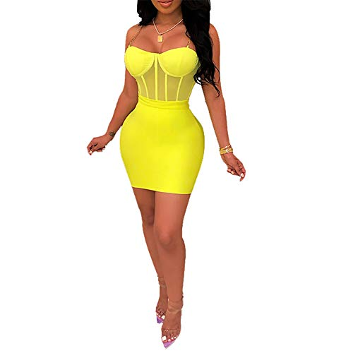 Womens Sexy Two Piece Outfits Sleeveless Mesh See Through Mini Skirt Set Clubwear Yellow