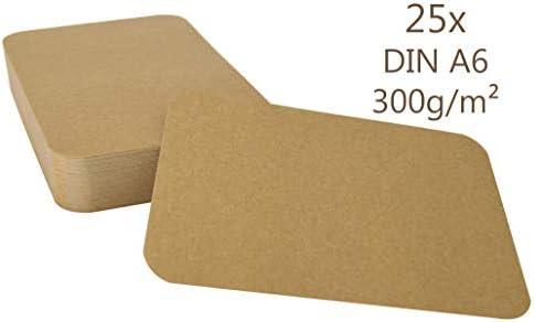 25er Pack Kraftpapier Kraftkarton A6 Karte 300g/m² Bastelkarton braun runde Ecken