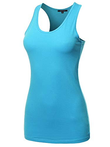 A2Y Women's Basic Solid Soft Cotton Scoop Neck Racer-Back Tank Top Ice Blue XL