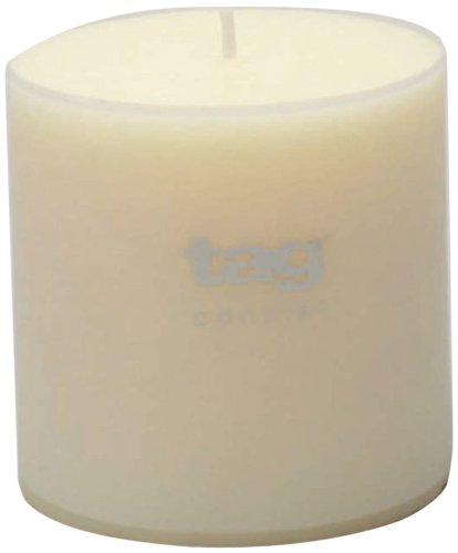 Tag 100073 4-Inch by 4-Inch Unscented Long Burning Pillar Candle, (Pillar Candle Tag)
