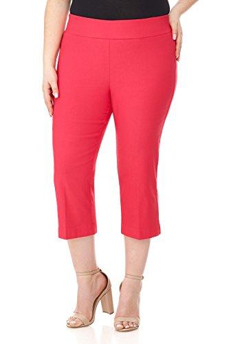 (Rekucci Curvy Woman Plus Size Classic Wide Waist Flattering Fit Capri (20W,Lipstick))