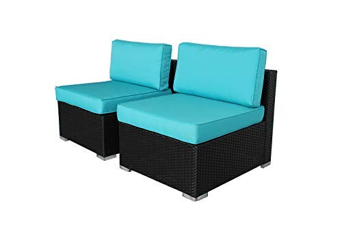 Outime Patio Furniture PE Black Rattan Sofa Set 2pcs Middle Sofa Garden Wicker Sectional Sofas Conversation Sets-Easy Assembled Turquoise Cushion