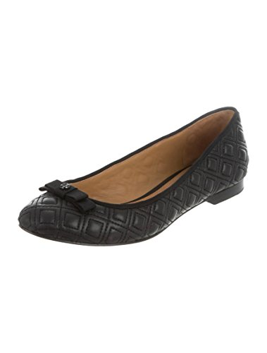 Tory Burch Marion Quilted Ballet Flat Women's Leather Shoes (7, Black)