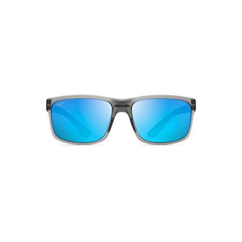 Maui Jim Pokowai Arch B439-11M | Polarized Translucent Matte Grey Rectangular Frame Sunglasses, Gray, with Patented PolarizedPlus2 Lens Technology