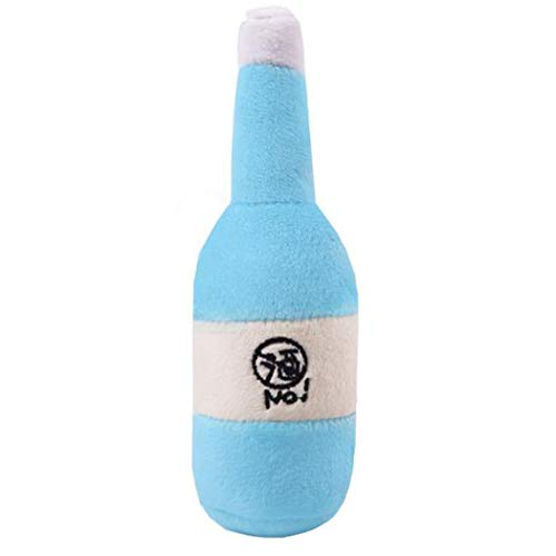 ColorMilky Plush Dog Toys Squeaky Bottle for Aggressive Chewers Small Large Dogs