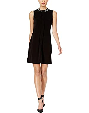 Calvin Klein Womens Hardware Pleated Party Dress Black 4