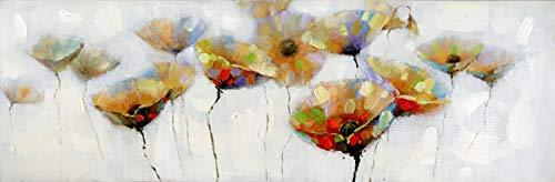 カラフルなポピーの花で包まれたキャンバス、20 x 60、多色   B07GBKGWKQ