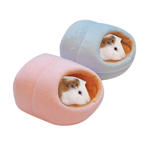 Anasu 2Pcs Hamster House Bed, Soft Warm Guinea Pig Bed Pet Small Animal Hamster Sleeping Bed Mat Chinchilla Rabbit Nest Pet Supplies (Blue+Pink, M)