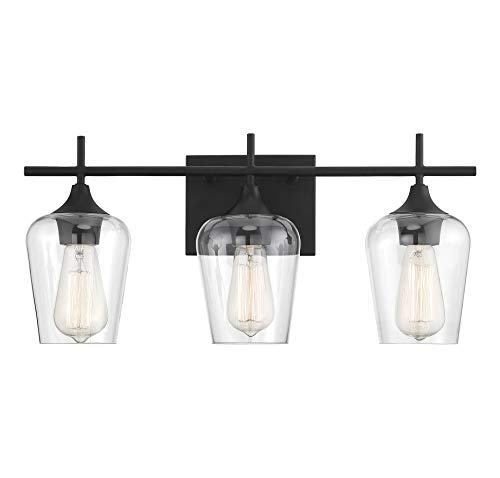 Savoy House 8-4030-3-BK Octave 3-Light Bathroom Vanity Light in a Black Finish with Clear Glass (21