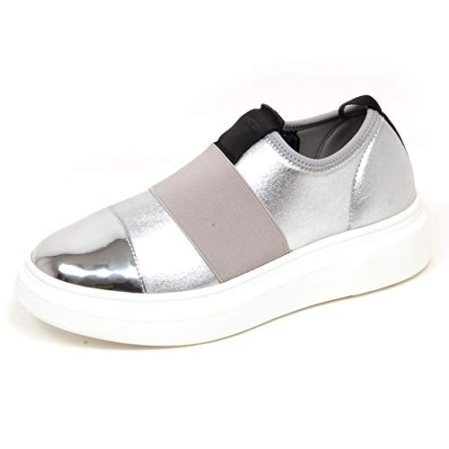 Argento Sneaker Tissue Slip F5886 Shoe Fessura Vintage On Silver Edge Donna Woman T4PxqdwPB