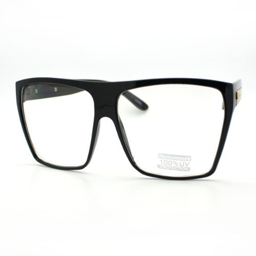 Black Silver Super Oversized Eyeglasses Flat Top Square Clear Lens Glasses Frames -