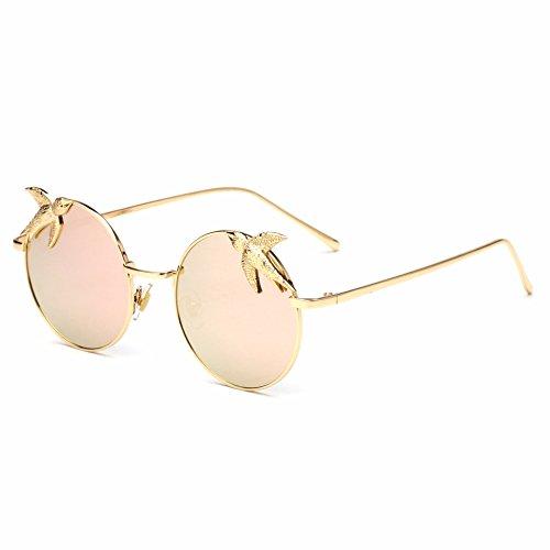 lentes montura Gafas metálica de para sol con mujer d redondos b RDJM Gafas de sol qXPA1dAw