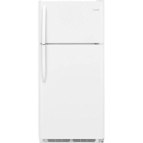 "FFTR1821TW 30″"" Top Freezer Refrigerator with 18 cu. ft. Total Capacity 2 Full Width Glass SpaceWise Refrigerator Shelves 1 Full Width Wire Freezer Shelf and Reversible Door in White"