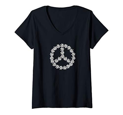 Womens Trendy Daisy Chain Peace Sign V-Neck - V-neck Womens Daisy T-shirt