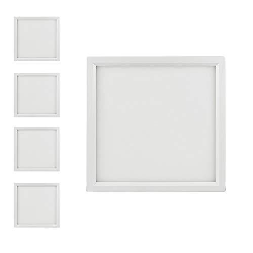 Slim Surface Mount Light Fixture, Square, 120V, 15W, 900LM, 3000K Warm White, CRI80, Driverless, Edge Lite Flush Mount Ceiling Light, ETL Certified, Damp Location, White, 4 Packs. ()
