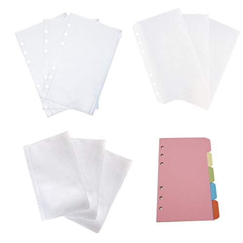 D-Worthy A6 Size Plastic Planner Notebook Refills Filler Organizer Sleeves Zipper Envelope Binder Pockets/Bill Pouch/3 Pockets Name Card Bag for 6-Ring Binder